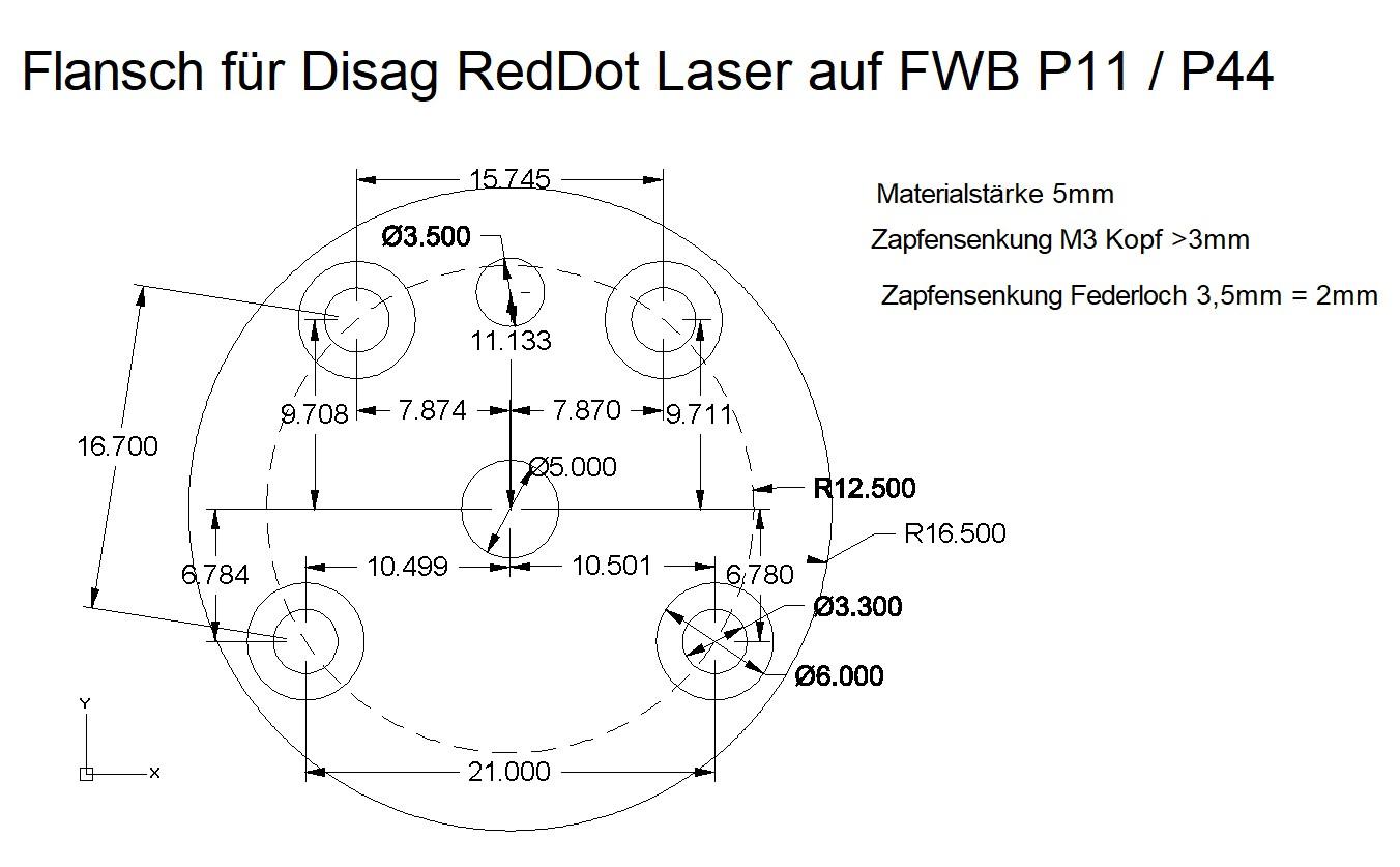 Disag RedDot-Laser Flansch zur Befestigung des Lasers an einer FWB P11 / P44